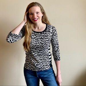 Ann Taylor leopard print & stripe 3/4 slv sweater